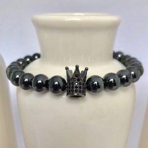 Mens King Hematite Gemstone Beaded Bracelet